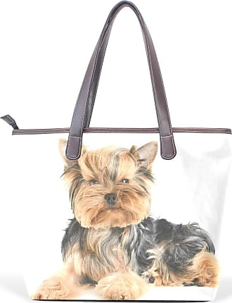 XiangHeFu Womens Handbags Cute Yorkshire Terrier Isolated Tote PU Leather