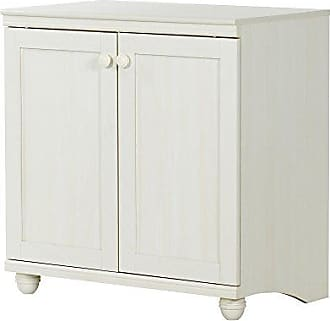 South Shore Furniture Small 2-Door Storage Cabinet with Adjustable Shelf, White Wash