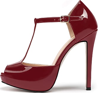 EDEFS Womens High Heel Ankle Strap Court Shoes Work Pumps Sandals Plus Size,Burgundy EU44