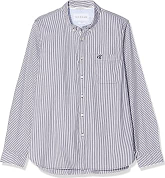 Calvin Klein Jeans Mens Washed Stripe Stretch Shirt F Casual, Blue (Night Sky Chw), Large (Size:L)