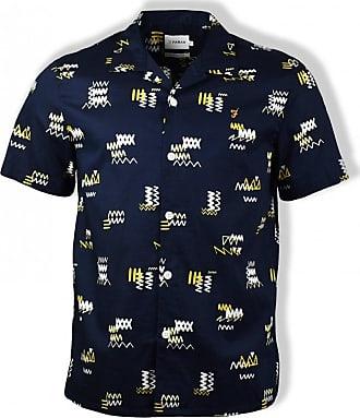 Farah True Navy Berman Santiago Kurzarm-Shirt - EXTRA LARGE - Blue