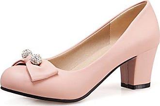 5ca547aff6d38e Aisun Damen Kunstleder Runde Zehen Strass Perlen Schleife Blockabsatz Low  Top Pumps Pink 33 EU