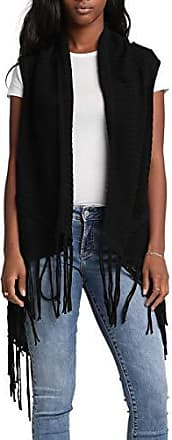 Womens Cable Knit Sweater Vest with Fringe Silver Jeans Co