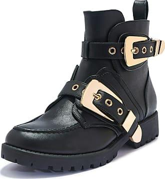 Truffle Truffle Black 100% Vegan Leather Grip Sole Biker Ankle Boots Shoes - Black - UK 5