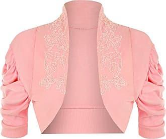 Islander Fashions Womens Ruched Beaded Shrug Ladies Short Sleeve Bolero Cardigan Top Baby Pink Medium/Large