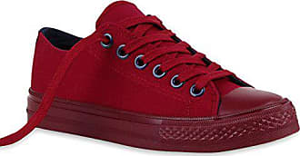 18bd24f056de6b Stiefelparadies Sportliche Damen Sneakers Metallic Schnürer Sneaker Low  Spitze Turn Blumen Denim Stoff Flats Schuhe 118871