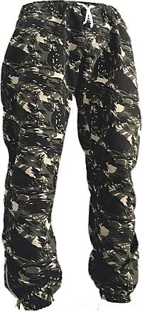 Atelier do Silk Calça Jogger Masculina Jeans Sarja Camuflada Elástico Cor:Verde-Escuro;Tamanho:GG