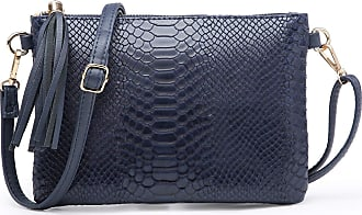 Craze London NEW Womens Small Clutch Bags with Wristlet and Long Adjustable Strap,Adjustable strap With Purse or small Shoulder bag Croc Design (Navy)