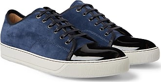 Lanvin Cap-toe Suede And Patent-leather Sneakers - Blue