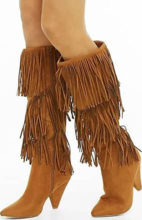 27c8133147957 Forever 21 Forever 21 Faux Suede Fringe Knee-High Boots, Brown
