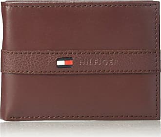Tommy Hilfiger Mens Leather Wallet - Thin Sleek Casual Bifold with 6 Credit Card Pockets and Removable ID Window, Burgundy