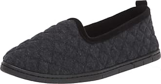 Dearfoams Womens Rachel Quilted Jersey Closed Back Slipper, Black, Medium