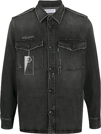 Department 5 Camisa jeans com efeito desbotado - Preto