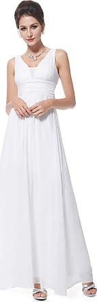 Ever-pretty Womens Classy V Neck Chiffon Long Wedding Dresses for Bridesmaids White 8 UK