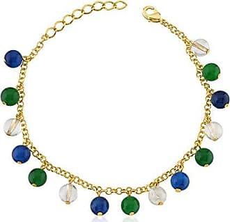 Toque De Joia Pulseira semijoia pedras quartzos azul, verde e rutilo dourado
