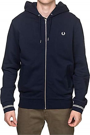 Fred Perry Mens Hooded Zip Through Sweatshirt, Blue (Navy 248), Large