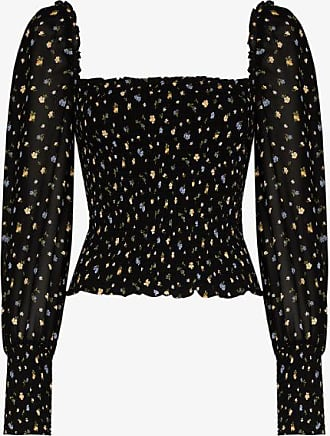 Reformation Womens Black Pinto Floral Print Blouse