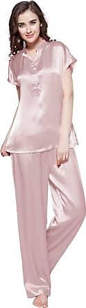 LilySilk Womens Long Silk Pyjamas Set Short Sleeve Half Buttoned 22 Momme Silk (Rosy Pink, XS)