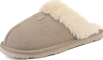 Dream Pairs Womens Faux Fur Slippers Ladies Slip On Suede Cozy Indoor Outdoor Winter House Shoes Sofie-05 Sand Size 11 US/ 9 UK