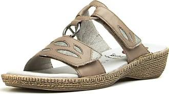 Jana Womens Taupe Leather Easy Fasten Sandal - Size 6.5 UK - Beige