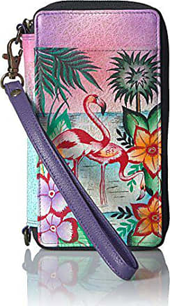 Anuschka Anna by Anuschka Hand Painted Leather Smartphone Case & Wallet | Tropical Flamingo