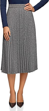 oodji Collection Womens Accordion Pleat Zipper Skirt, Grey, UK 6 / EU 36 / XS