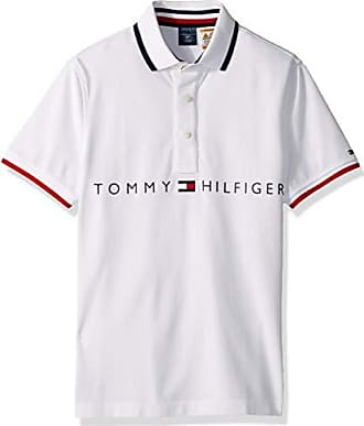 Tommy Hilfiger Mens Adaptive Polo Shirt with Magnetic Buttons Custom Fit, Bright White-Print Small