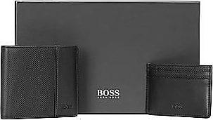 BOSS Geschenk-Set mit Geldbörse und Kartenetui aus Leder mit Rauten-Prägung