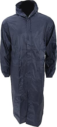 Universal Textiles Mens Long Length Waterproof Hooded Coat/Jacket (XXL Chest: 52-55inch) (Navy)