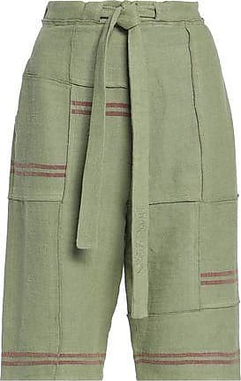 J.W.Anderson J.w.anderson Woman Tie-front Patchwork Linen Shorts Light Green Size 6