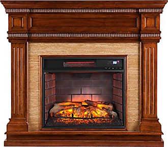 Southern Enterprises Faircrest Infrared Fireplace, Oak Saddle Finish with Faux Travertine Stone