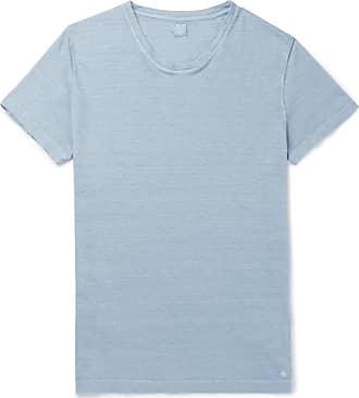120% CASHMERE Slim-fit Slub Linen T-shirt - Blue