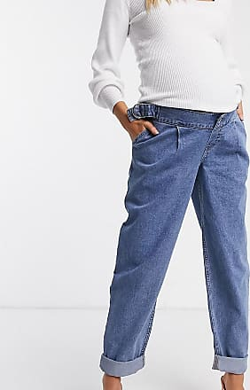 Asos Maternity ASOS DESIGN Maternity Tapered boyfriend jeans with d-ring waist detail with curved seams in blue with over the bump bump