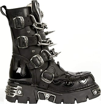 New Rock Unisex M.727-S1 Black Leather Boots Skull Chain Flame Reactor Boots 40