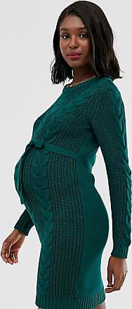 Mama Licious Mamalicious - Vestito maglia premaman a trecce verde
