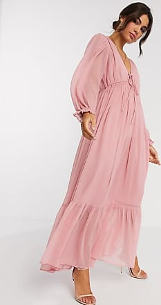 Asos soft drawstring waist pleated maxi dress in dusky pink