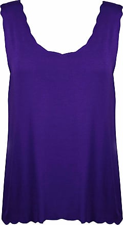 Purple Hanger New Ladies Plain Scalloped Edge Stretch Fit Sleeveless T-Shirt Top Womens Scallop Neck Vest Tops Plus Size Purple Size 20 - 22