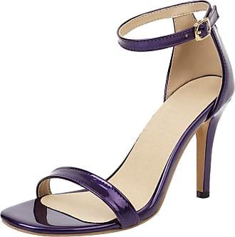 Mediffen Womens Party Ankle Strap Stiletto Heels Dress Sandals Elegant Ladies High Heels Evening Sandals Open Toe Bride Wedding Shoes Purple Size 41 Asian