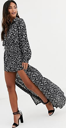 In The Style x Stephsa long sleeve printed playsuit with removable skirt-Black