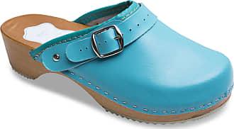 FUTURO FASHION Womens Healthy Natural Genuine Leather Wooden Sole Plain Clogs Unisex Colours Sizes 3-8 UK Turquoise
