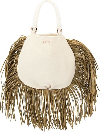 0711 Ani raffia tote bag - White