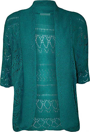 ZEE FASHION Women Ladies Knitted Bolero Crochet Shrug Open Cardigan Plus Size UK 8-30 Teal