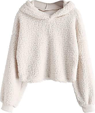 Zaful Womens Long-Sleeved Hoodie Faux Fur Solid Colour Harvest Pullover Sweatshirt Tops - Beige - S