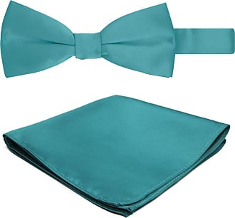 Jacob Alexander Solid Color Mens Bowtie and Hanky Set - Teal Green