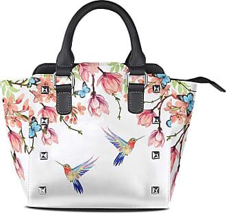 NaiiaN for Women Girls Ladies Student Tote Bag Light Weight Strap Leather Tropical Poppy Flowers Butterflies Hummingbird Handbags Birds Purse Shopping Should