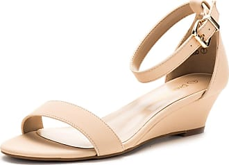 Dream Pairs Womens Ingrid Nude Nubuck Ankle Strap Low Wedge Sandals Size 8.5 US/6.5 UK