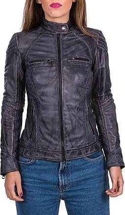 Leather Trend Italy G63 - Giacca Donna in Vera Pelle colore Grigio Tamponato