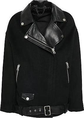 7d8c23ef6442 Muubaa Muubaa Woman Leather-paneled Felt Biker Jacket Black Size 6