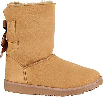 42d51028af5349 Stiefelparadies Damen Schlupfstiefel Warm Gefütterte Stiefel Schleife Schuhe  150517 Hellbraun Autol 40 Flandell