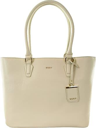 DKNY DKNY Donna Karan Tote Shopper Bag Pebbled Leather Handbag (Medium, Sand Dollar) Cream